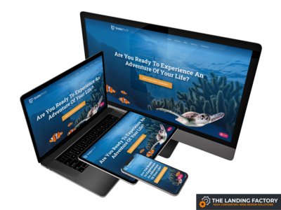 Homepage template design for scuba diving courses course blue scuba diving teacher scuba diving course scuba diving scuba diver scuba homepage design homepage website page builder web design template responsive design responsive page layout landing page template landing page concept landing page elementor
