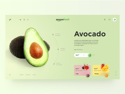Concept for Amazon Fresh fresh colors color minimal shopping cart ux  ui uidesign uxdesign online store ux design ui webdesign