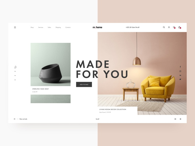 E-commerce / Goods for home / Furniture homepage home textile decor furniture store shop ecommerce fresh colors color webdesign ux design uidesign ui clean minimal