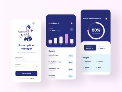 Subscription manager. Analytics uidesign fresh colors illustration design ux clean creative ui color dashboard mobile ui mobile