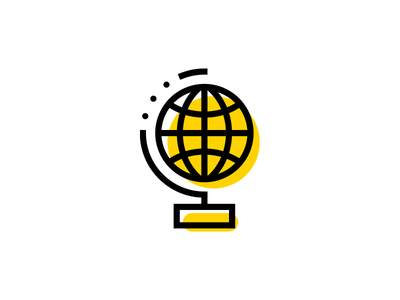 Globalization offset outline icon location globe