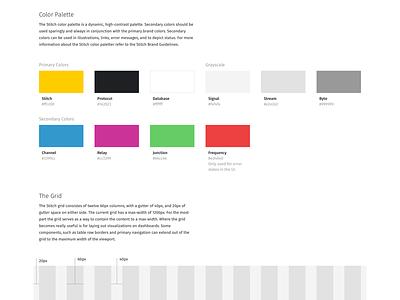 Stitch Design System colors grid guidelines system design