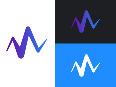 Wave Mark gradient mark logo