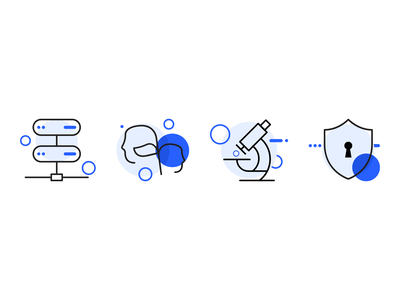 Icon Updates illustration science storage research collaboration security blue icon branding