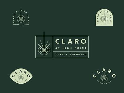 Claro at High Point denver apartment eye modern community eclectic badges badge brand identity typography logo branding