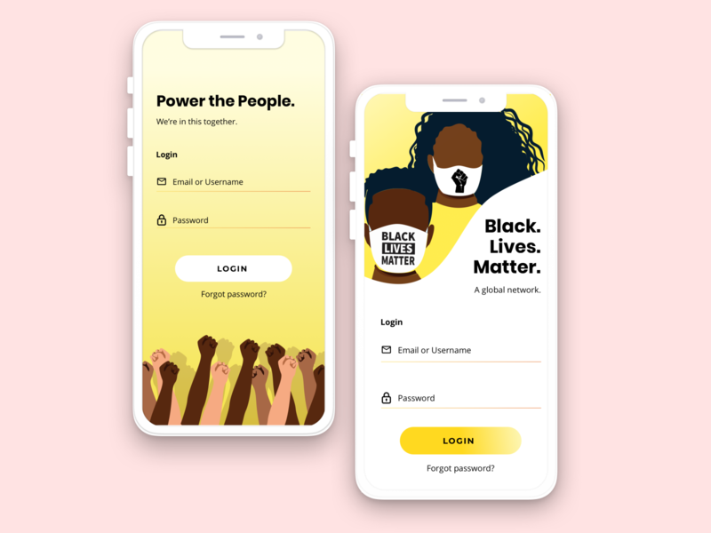 BLM App community designforgood justice blacklivesmatter concept application design ui branding design app
