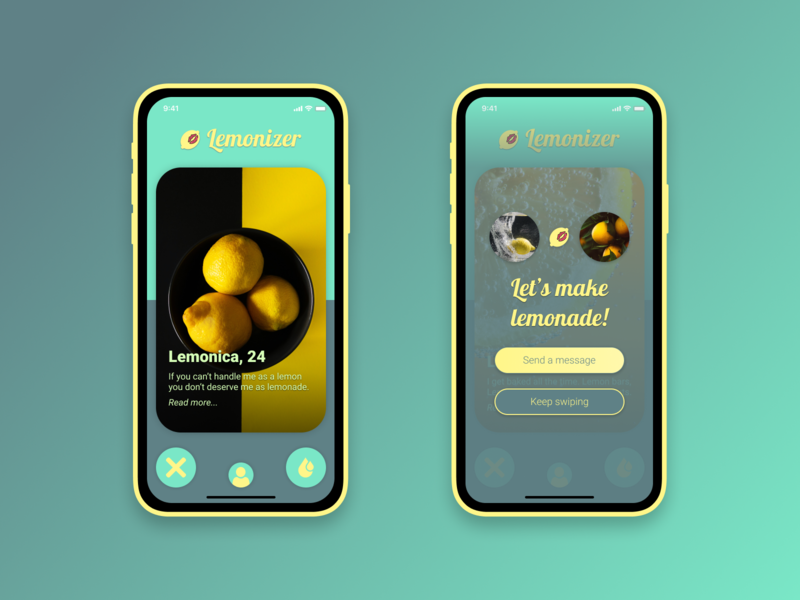 Lemonizer mobile ui mobile app green yellow logo mobile design concept ui