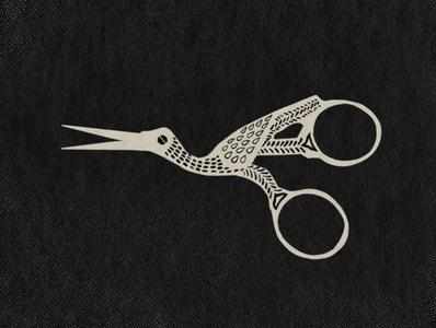 Stork Scissors procreate hand drawn design illustration