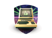 Funky Friday lasers neon 80s commodore 64 emblem retro computer illustration
