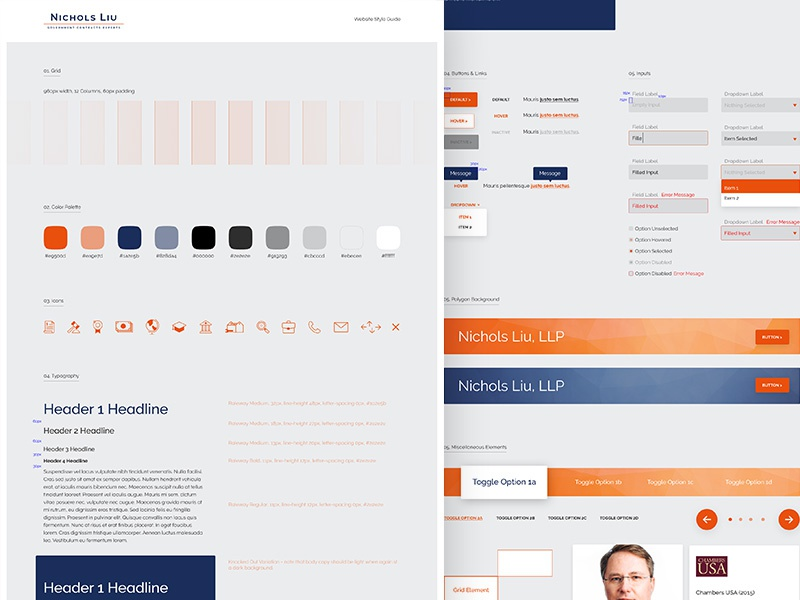 Law Firm Website Style Guide fonts colors grids ui guide website web design ui design style guide