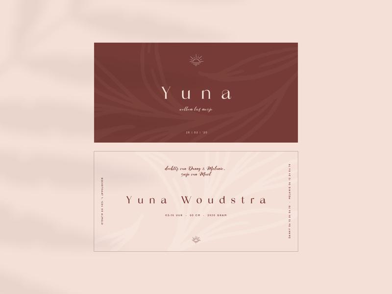 Birth announcement Yuna typogaphy graphicdesign design graphic card design birth babygirl birth announcement