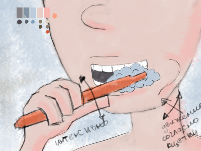 "Сhapter-2 ""Teeth cleaning"" (sketch) fingers arm toothpaste teeth cleaning mouth toothbrush teeth character animation nick sketch picture concept art illustration art photoshop photoshop art"