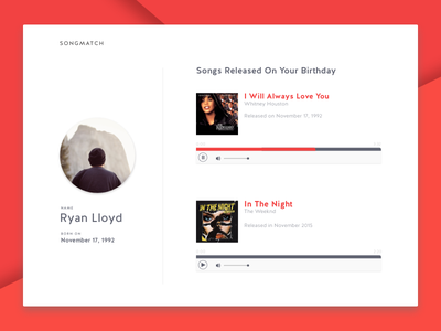Songmatch Concept songs concept player music ui