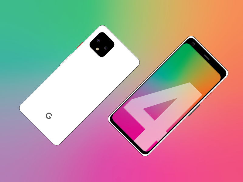 Pixel 4 Design Flat Art flat vector google pixel branding design illustration