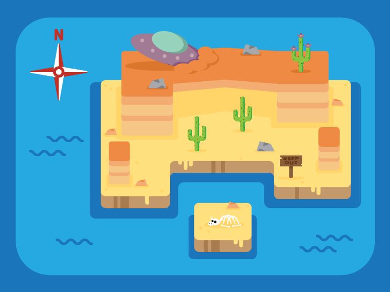 Desert Map vector graphic design flat design adobe illustrator illustration map