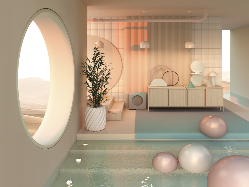 Places where I'd like to spend quarantine I lighting product design furniture pool ximecaneda adobe interiordesign interiors surreal architecture cinema4d c4d design illustration abstract 3d art set design render colors 3d
