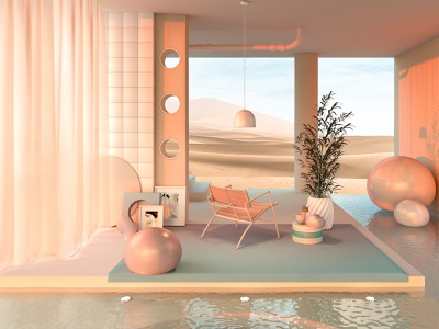Places where I'd like to spend quarantine III dreamscape surreal product design pool lighting chair art direction set set design 3d artwork furniture render colors c4d cinema4d architecture adobe abstract 3d art 3d