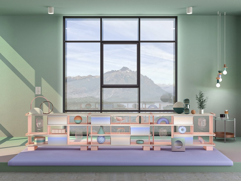 Mountain View Part I mountains artwork interiors dreamscape product design surreal lighting furniture green architecture art direction abstract c4d 3d art set adobe set design render colors 3d