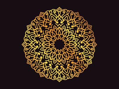 Gold Gradient Mandala-002 wallpaper gradient mediation mandalas geometric design ethnic mandala art flat illustration design vector illustrator mandala