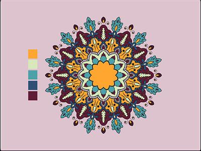Mandala-001 color pallet geometric design adobe color meditation ethnic mandalas mandala flat design illustration vector illustrator