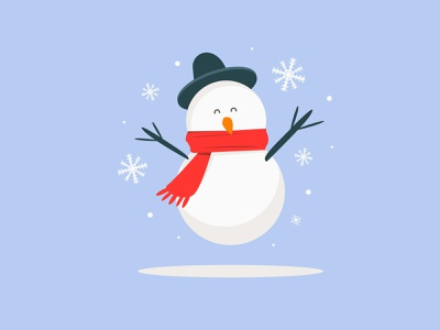 Snowman Happy Winter mascot snowman snow winter xmas december cute character cartoon branding art flat vector illustration design