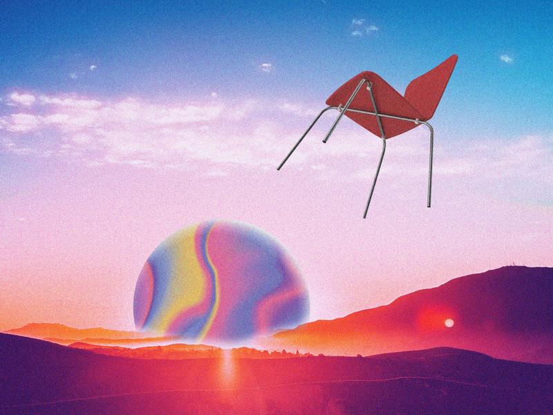 Chair flies off at dusk graphic design futuristic futurewave future funk digital art cyberpunk colorful collage chillout 80s