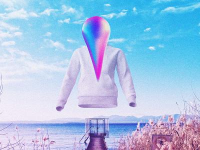 The rainbow-colored man graphic design futuristic futurewave future funk digital art cyberpunk colorful collage chillout 80s