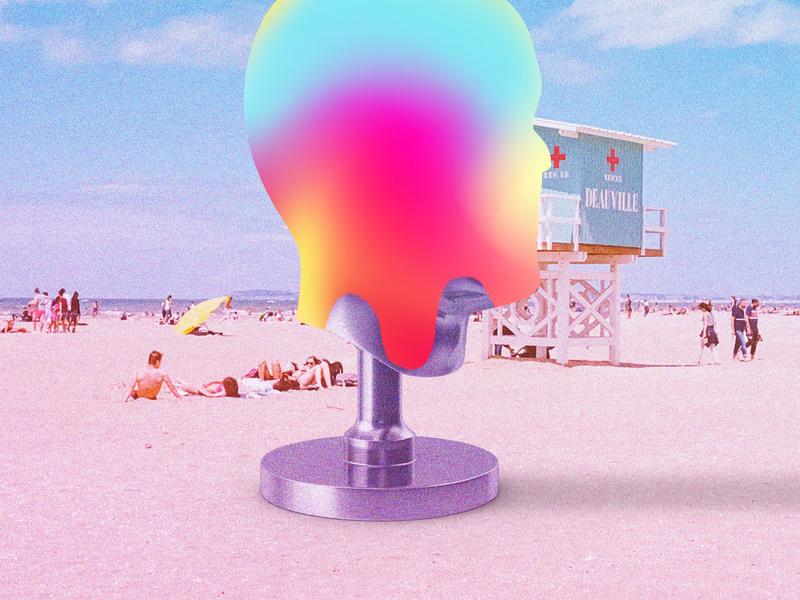 head-melting heat graphic design futuristic futurewave future funk digital art cyberpunk colorful collage chillout 80s