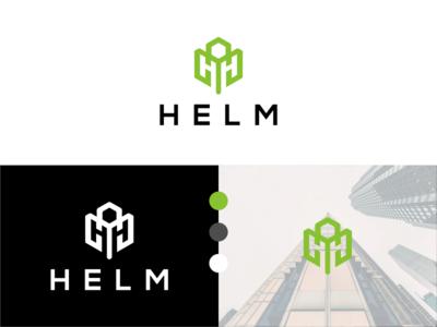 Helm Logo simetri geometric hexagon logo green color simple logo minimalist logo modern logo helm logo letter logo brandidentity logodesign