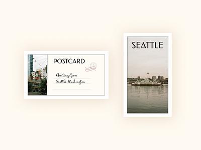Postcard design inspired by Seattle classicstyle weeklywarmup dribbbleweeklywarmup postcarddesign postcard minimal visualdesign figma