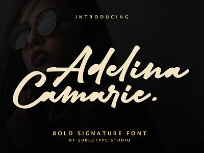 Adelina Camarie Bold Signature Font branding logo markerfont handwrittenfont soldscript boldfont signaturefont signature boldsignature
