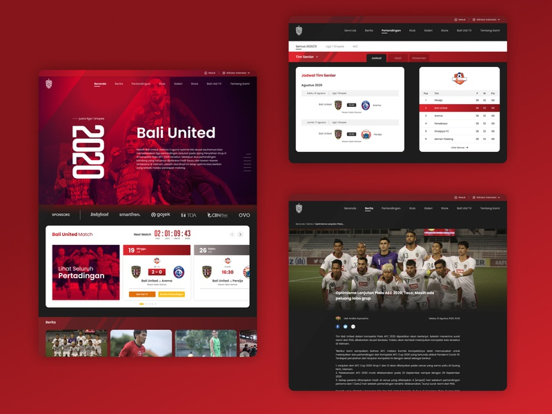 Redesign Website Football - Bali United, Indonesia soccer football web football website design ux design ui design redesigned webdesign ux ui design app