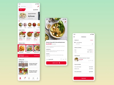 Food Delivery App - Landing Page, Detail Menu, Order Checkout daily ui figma design figma layout interface interaction health food delivery app food app store app mobile ui mobile app design mobile app mobile ui ux design app
