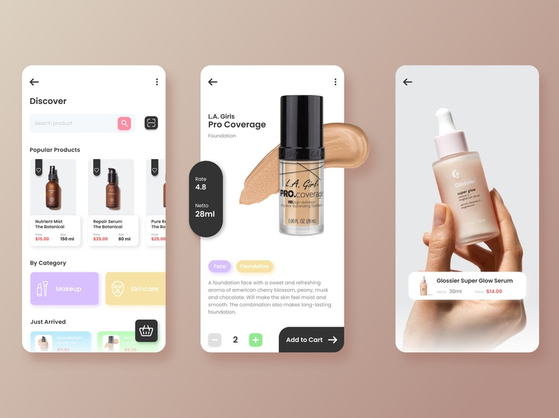 Cosmetic and Beauty Product Store App skincare cosmetic makeup light feminine fashion ecommerce beauty sketch figma daily ui store app mobile ui mobile app design mobile app mobile ux ui design app