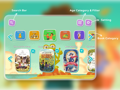 Story Books App for Children storytelling kids illustration childrens book children kids figma daily ui mobile ui mobile app design mobile app mobile ux ui design app