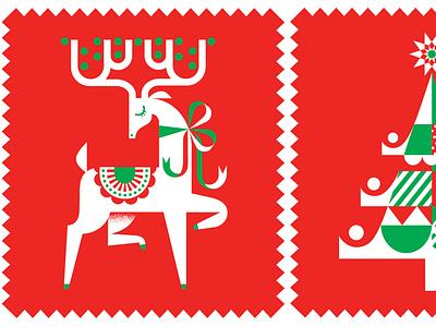 USPS Deer Stamp postage stamp animal logo holiday reindeer usps stamp design graphic design vector illustration