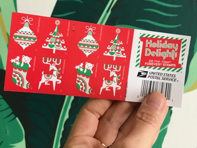 USPS Holiday Delight Stamps out now! graphic design illustration
