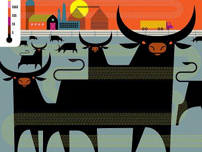 Factory Farming farming farm politics vector art illustration cows animal rights factory farm global warming carbon footprint pollution carbon emissions