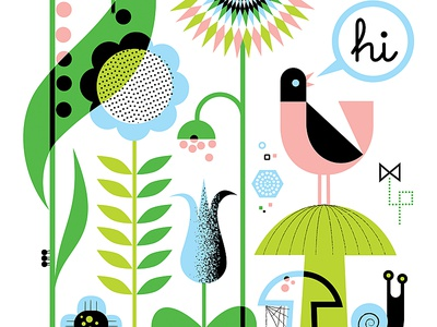 Springtime nature summer kids art childrens illustration bugs flowers birds vector design illustration