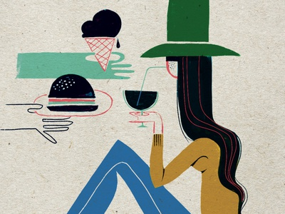Black Food fall burger icecream hats long hair hairstyle texture texture brushes fashion illustration food and drink women brush inking ink design illustration