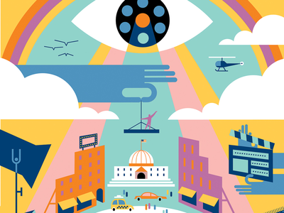 Hollywood Producers for Variety Magazine vector art graphic design colorful illustration abstract people hollywood