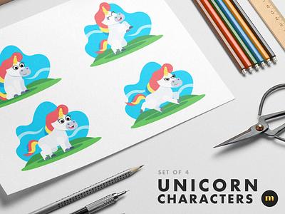 Set of 4 Unicorn Characters illustration unicorn milktoast designer vector design