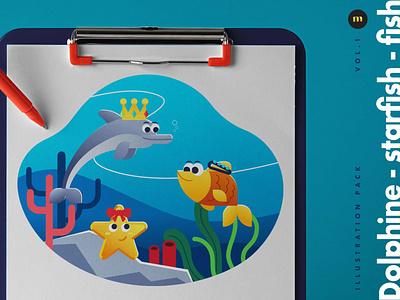 Dolphins Starfish and Fish illustration pack design designer vector
