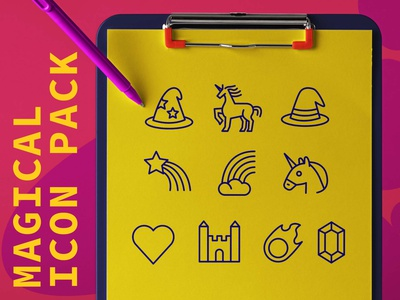 Magical icon pack heart love castle gem rainbow witch wizard unicorn magic branding designer vector design