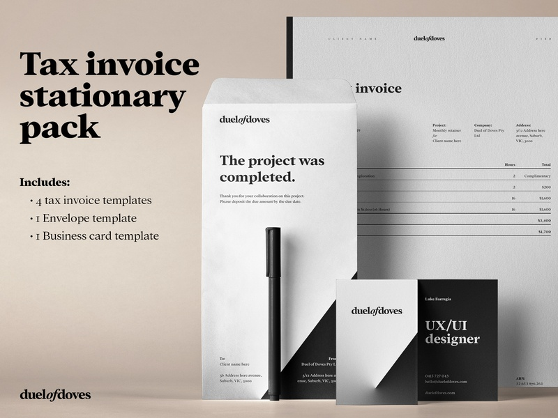 Invoice Template Mock Up icon ui vector ux typography minimal logo duelofdoves designer design business card branding