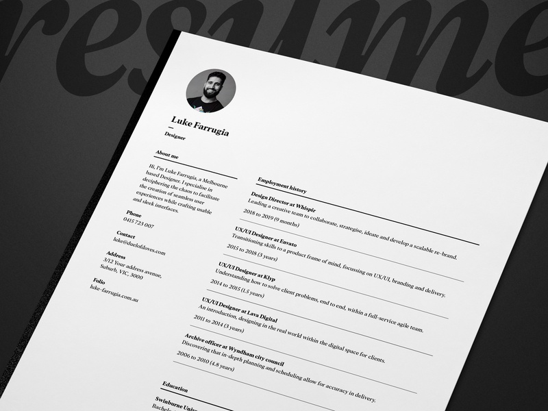 Single page resume/CV and cover letter - vol. 9 resume template template resume business card vector ux typography minimal logo duelofdoves designer design branding