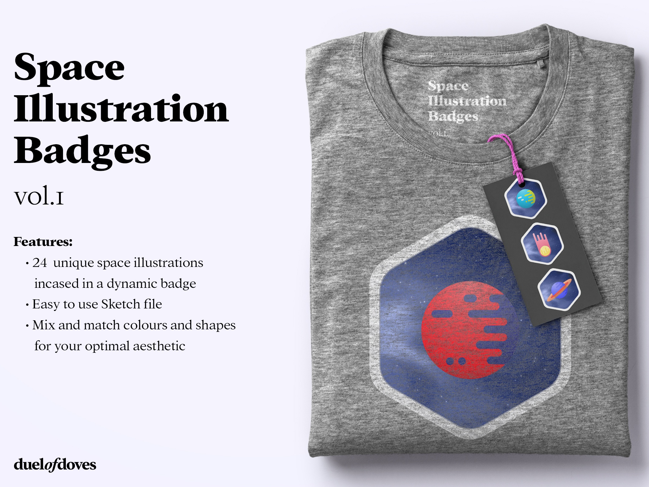 24 Space illustration badges