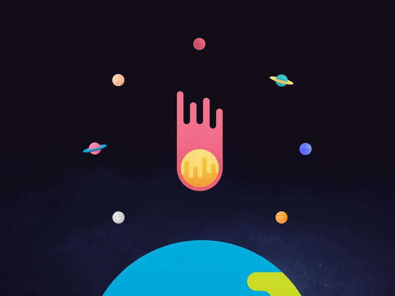 12 Vibrant Space Icons earth comet vectorart vector space planets galaxy minimal logo duelofdoves designer design branding