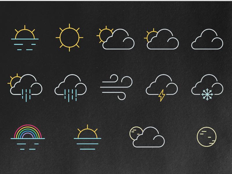 Weather icon set icons rainbow sunny lightning weather rain cloud galaxy admin icon business card ux typography vector minimal logo duelofdoves designer design branding