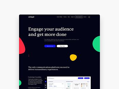 Whispir website homepage website design electric blue blobs homepage website icon ux typography vector minimal logo duelofdoves designer design branding